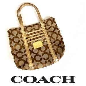 COACH • POPPY TOTE GOLD SHOULDER BAG